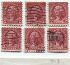 Buy 1932 2 Cents Washington Red Portrait Bicentennial 6 Stamps Lot Good Used
