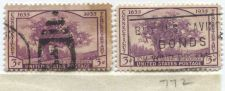 "Buy 1935 3c Connecticut Tercentenary Stamps (x2) Good Used ""Buy Bonds"" Cancellation"
