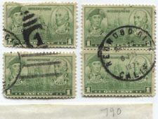 Buy 1936 1c Jones & Barry set of 4 stamps, 2 attached vertically and 2 singles