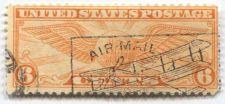 Buy 1934 6c Winged Globe Air Mail Long Stamp Good Bi-Plane Cancellation Post mark
