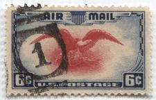"Buy 1938 6c AirMail Red Eagle with very nice shoeprint cancellation ""1"" good clean"