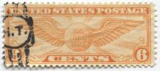"""Buy 1934 6c Winged Globe Used Cancelled """"H.T."""" Very unique and extra nice! Buy it!"""