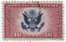 Buy 1936 16 cents Air Mail Special Delivery Red Horizontal Alignment Lines Top Perf