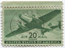 Buy 1941 20 cents AirMail Twin Engine Transport Plane Green Bullseye Top Selvage