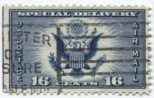 Buy 1935 16c AirMail Blue PrePaid Great Seal of the United States Used unique Stamp