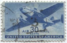 """Buy 1941 30 cents US Air Mail Transport Plane Stamp Lightly Postmarked """"3"""" and Mass."""