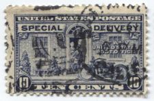 "Buy 1922 10 cent Special Delivery Stamp Blue Motorcycle Cancelled ""1"" and Calif,"