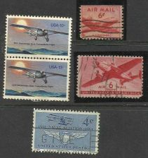 Buy Aviation Lot 2 - US 6c Airmail (2 Types) / Transatlantic Flight / 4cNaval Aviati