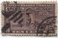 "Buy 1927 10 cent Special Delivery Stamp Violet Motorcycle Cancelled ""2"" Nice Buy It!"
