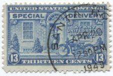 Buy 1944 13 cent Special Delivery Stamp Blue Motorcycle Cancelled 4/20/49 12:30PM