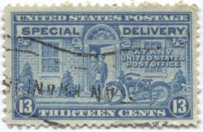 Buy 1944 13 cent Special Delivery Stamp XF Blue Motorcycle Very Lightly Cancelled