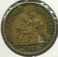 Buy 1921 France 1 Franc Aluminum Bronze World Coin Mercury Seated