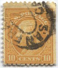Buy 1922 10 Cent Ben Franklin Orange Yellow San Francisco Old Oval Postmark