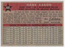 Buy 1958 Topps #488 Hank Aaron All-Star Milwaukee Braves HOF