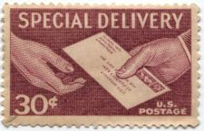 Buy 1957 30 Cent Special Delivery Red Mint Unused US Postage Hands and Letter Nice!