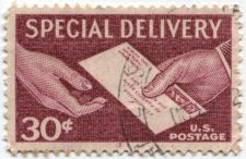 Buy 1957 30 Cent Special Delivery Red Mint Used US Postage Hands and Letter Nice!