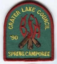 "Buy 1990 Crater Lake Council Spring Camporee Patch ""BSA"" in Flames"
