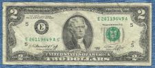 Buy US 1976 Circulated $2 Dollar Banknote # E26119649A - Green Seal