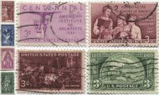 Buy 1940's+50's 3 Cent Stamps Cancelled Professions Architect, Teacher, Doctor, Bank