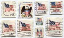 Buy Set of 9 US Flag Stamps 6c, 10c, 13c & 15c Used Good Off-Paper Condition Buy Now