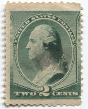 Buy 1887 2c George Washington Profile Green Stamp Rare Off Center Minor Tear