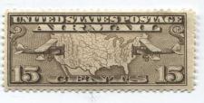 Buy 1926 15c Airmail Planes over Map Long Wide Olive Stamp Extra Fine Unused