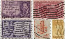 Buy 1940's+50's 3 Cent Stamps Cancelled Famous People Set 5 Print and Women Lot