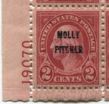 "Buy 1928 ""Molly Pitcher"" Over-Printed 2c Washington Battle of Monmouth VF LH Serial"