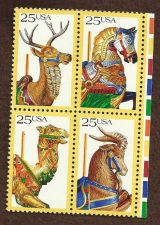 Buy Scott's 2390-2393 Block of Four (4) Carousel 25c (Deer Horse Camel Goat)