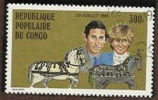 Buy 1981 Republique Populaire Du Congo 300f stamp Princess Diana Royal Wedding # 606