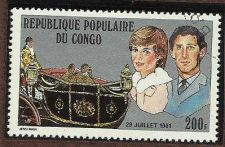 Buy 1981 Republique Populaire Du Congo 200f stamp Princess Diana Royal Wedding #605