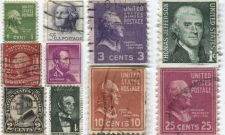 Buy 1940's+50's 1,2,3,4,5,10 & 25 Cent Stamps Cancelled US Presidents Set 10