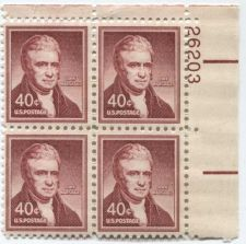 Buy 1958 40c John Marshall Liberty Mint Plate Block Serial Attached Upper Right