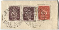 Buy Correio De Portugal 5$00, 30$ Red Ship Stamp Martins Barata Cancelled On piece