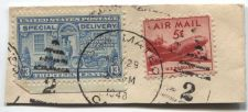 Buy 1944 13c Special Delivery Stamp Blue Motorcycle Cancelled + 5c Air Mail On Piece