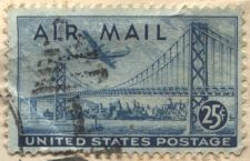 Buy 1945 25c Boeing B377 Stratocruiser over Bay Bridge Used Good On Piece Cancelled