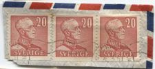 Buy 1940 Sweden King Gustav V 20 Ore Cancelled 3 stamps, 2 Attached Stockholm 4-3-51