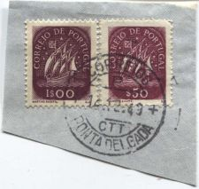 Buy Correio De Portugal 1$00, $50 Red Ship Stamp Cancelled On piece 14-12-49