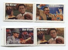 Buy 1997 32c Football Coaches Pop Warner, Bear Bryant and Vince Lombardi 2 Pairs