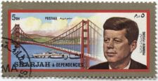Buy 1966? Sharjah & Dependencies Gold Foil President John F. Kennedy Golden Gate