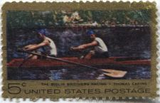 Buy 1967 5c Thomas Eakins painting The Biglin Brothers Rowing Racing Boat Used Nice