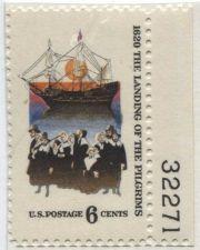 Buy 1970 6c Landing of the Pilgrims Mint Unused Serial Selvage Nice Color Like New