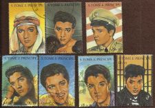 Buy Seven Elvis Presley St Thomas & Prince 1995 Stamps in Very Fine Used Condition