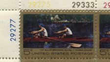 Buy 1967 5c Plate Block Thomas Eakins Painting The Biglin Brothers Rowing Racing