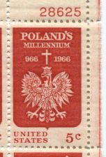 Buy 1966 5c Poland's Millennium Mint, Never Hinged Plate Block Serial Nice Look!