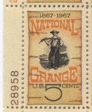 Buy 1967 5c National Grange 1867-1967 Mint, Never Hinged Plate Block Serial Nice