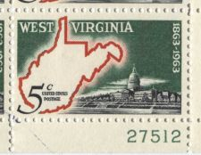 Buy 1963 5c West Virginia 1863-1963 Mint, Never Hinged Plate Block Serial Nice