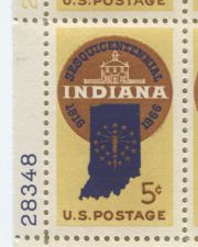 Buy 1966 5c Indiana 1816-1966 Mint, Never Hinged Plate Block Serial Nice Multicolor