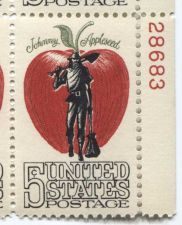 Buy 1966 5c Johnny Appleseed Mint, Never Hinged Plate Block Serial Excellent Color!