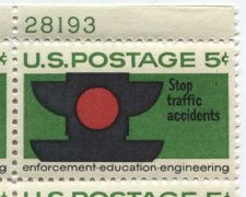 Buy 1965 5c Stop Traffic Accidents Mint, Never Hinged Plate Block Serial Bold Color!